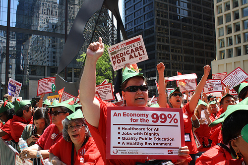 Nurses rallied in Chicago's Daly Plaza last week for their Heal America campaign