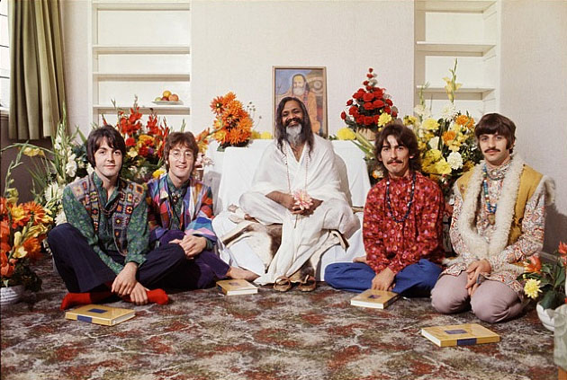 Paul, John, Maharishi Mahesh Yogi, George and Ringo