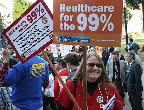 RN Deann McEwen last year at a rally  to step up the campaign to extend guaranteed healthcare coverage to all Californians