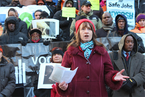 RN Mary Fitzgerald of the New York State Nurses Association addresses the continued impact of Hurricane Sandy on health conditions. Photo by New York State Nurses Association on Facebook.