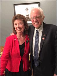 RoseAnn DeMoro with Sen. Bernie Sanders