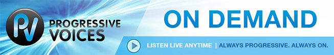 a banner graphic for Progressive Voices On Demand radio