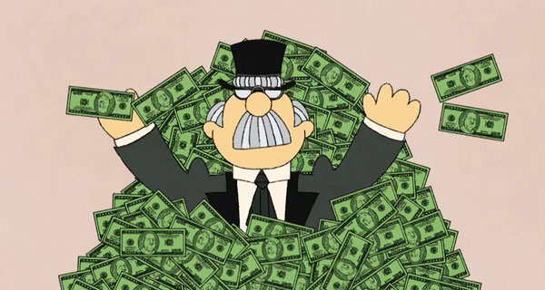image from school house rock man with large grey mustache standing in pile of money