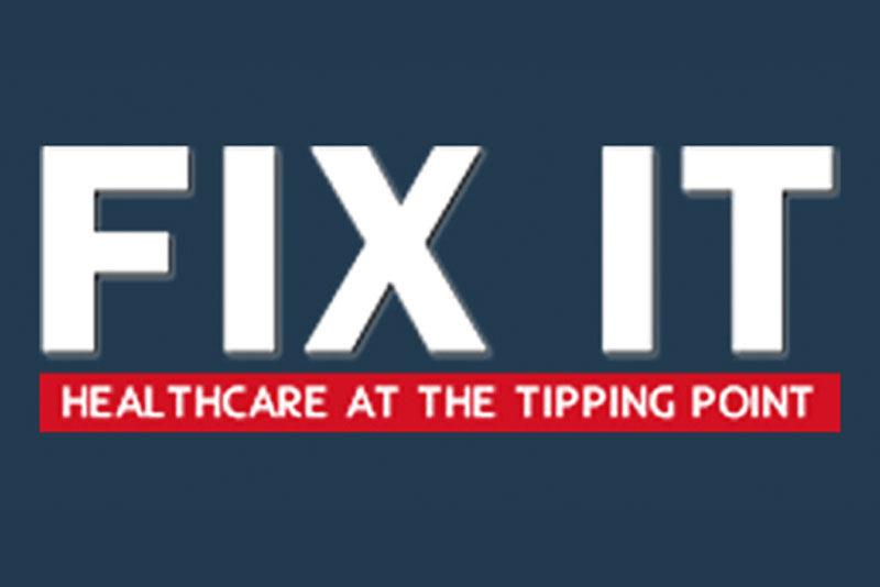 a banner graphic that reads 'fix it - healthcare at the tipping point'