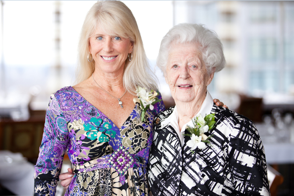 Sallie Cutler, left, and her mother, Alyce Cheatham, attended a 2012 luncheon for Oregon Health and Science University's Center for Ethics in Health Care, which conducts research regarding Physician Orders for Life Sustaining Treatment. Cheatham, a longtime advocate of the program, relied on instructions in her POLST form after a severe stroke in May. She died a week later at age 96. (Courtesy of Erin Grace Photography)
