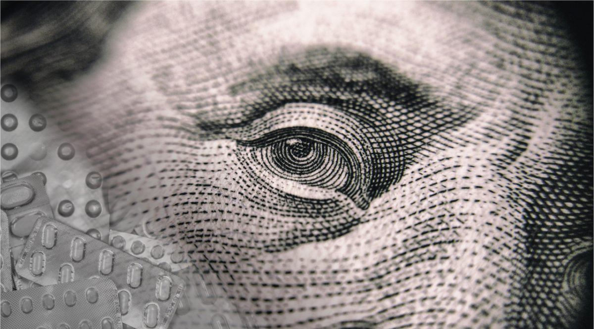 close up of ben franklin eye from 100 dollar bill